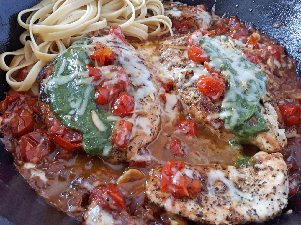 basil chicken tomato pasta 3