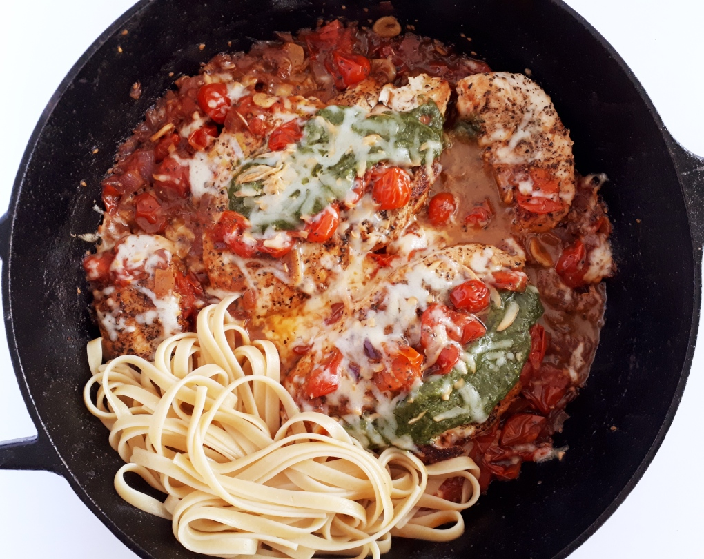 basil pesto chicken tomato pasta 2